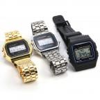 Retro Uhr, gold silber Retro Digital Uhr, Gadget, Nerd Stuff, Datumsanzeige, Uhr 80er Jahre, günstig einkaufen, China Gadget, Gadgetwelt