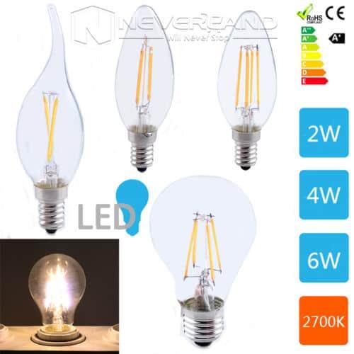 2W 4W 6W, E14 ,E27, LED Filament, Glühfaden, Glühbirnen ,Glühlampen, günstig , retro LED Leuchtmittel