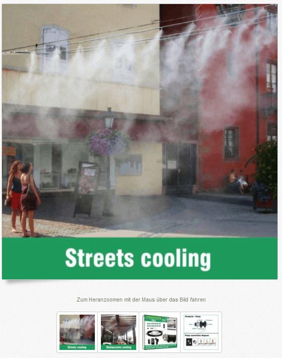 Abkühlen, Nebler, Wasser Nebler Straße kühlen, Sommer heiß Kühlsystem, Wasser sprühen, Nebel kühlen, Sommer kühl