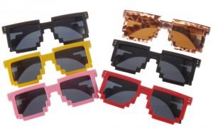 Pixelbrille gelb, pixel pink, brille rot