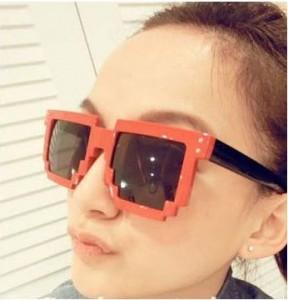 pixelbrille rot, nerd brille, sonnenbrille nerds