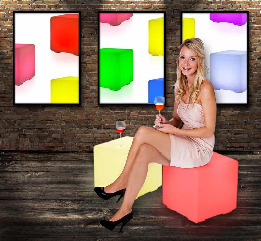 LED Sitzwürfel Akku Gadget Hocker Shop