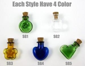 bunt glasflasche klein, miniatur flasche bunt