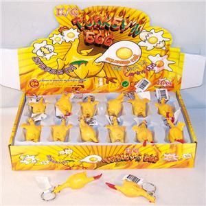 gummihuhn schlüssel, eier legen