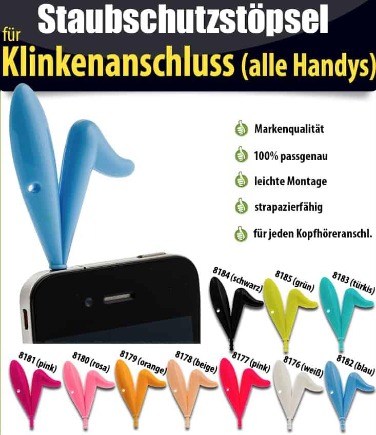 hasenohren staubschutz, handy staubschutzstöpsel, audio schutz