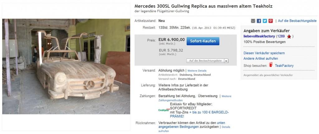 Mercedes SL300 Gullwing Holz Teakholz Teak günstig