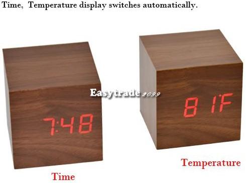 der gehobelte holzklotz soundgesteuerte usb batterie led uhr temperaturanzeige mit farbwahl. Black Bedroom Furniture Sets. Home Design Ideas
