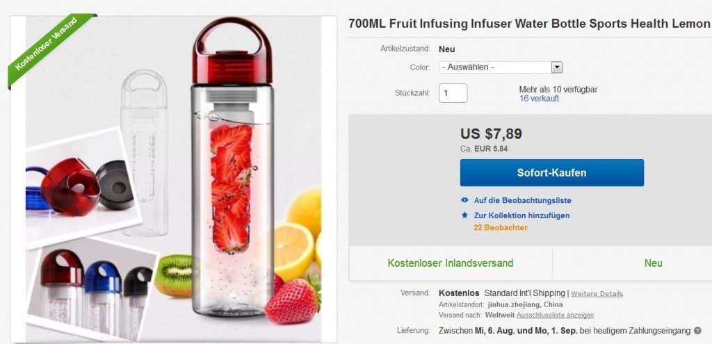 Getränkeflasche Früchte, Aroma Früchte Wasser, Früchte in Flasche füllen, Gadgets China, Neuheit, bester Preis