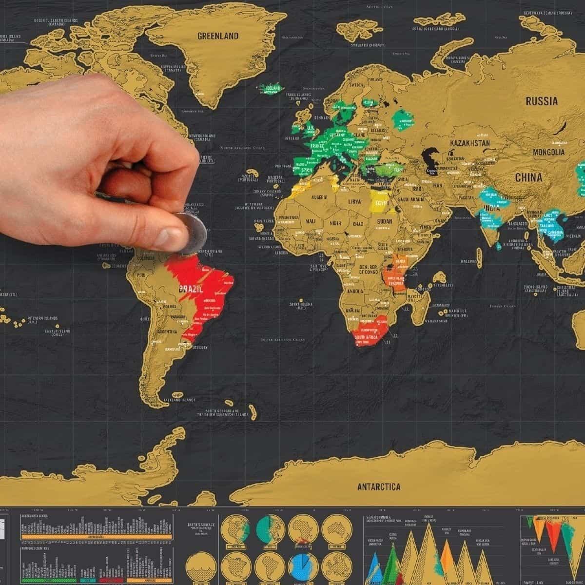 Scratch Map mit Gutschein für 1,99 Euro inkl. Versand! Die Karte für Weltenbummler – besuchte Länder einfach aufrubbeln!