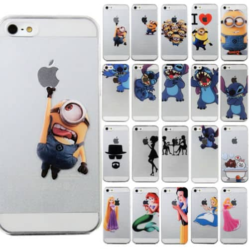 handyh lle case bumber mit verschiedenen lustigen cartoon motiven f rs iphone 4 5 oder 6 ab. Black Bedroom Furniture Sets. Home Design Ideas