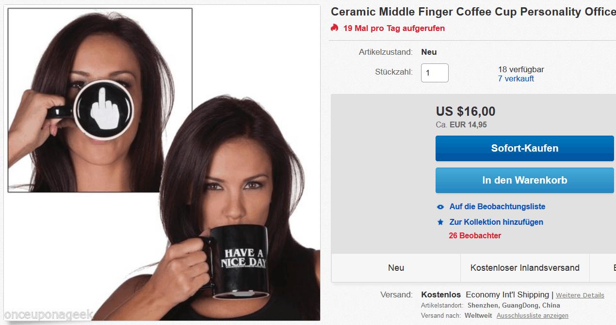 Stinkefinger Tasse