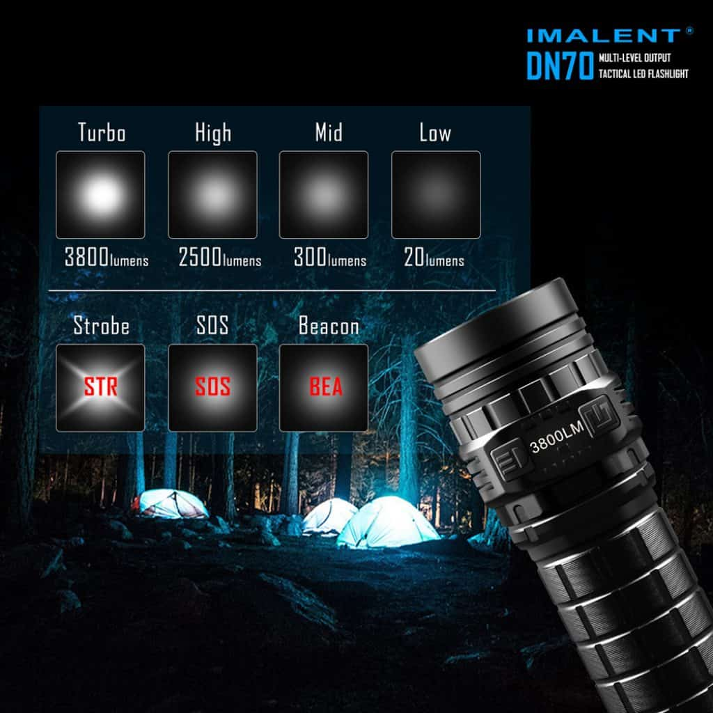 imalent dn70 led taschenlampe mit oled screen und 3800. Black Bedroom Furniture Sets. Home Design Ideas