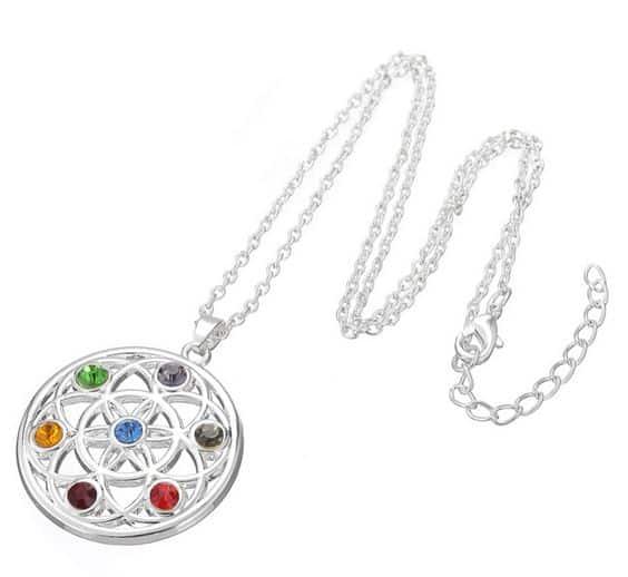 """Chakra-Halskette """"Blume des Lebens"""" mit bunten Steinen! Glücksbringer?"""