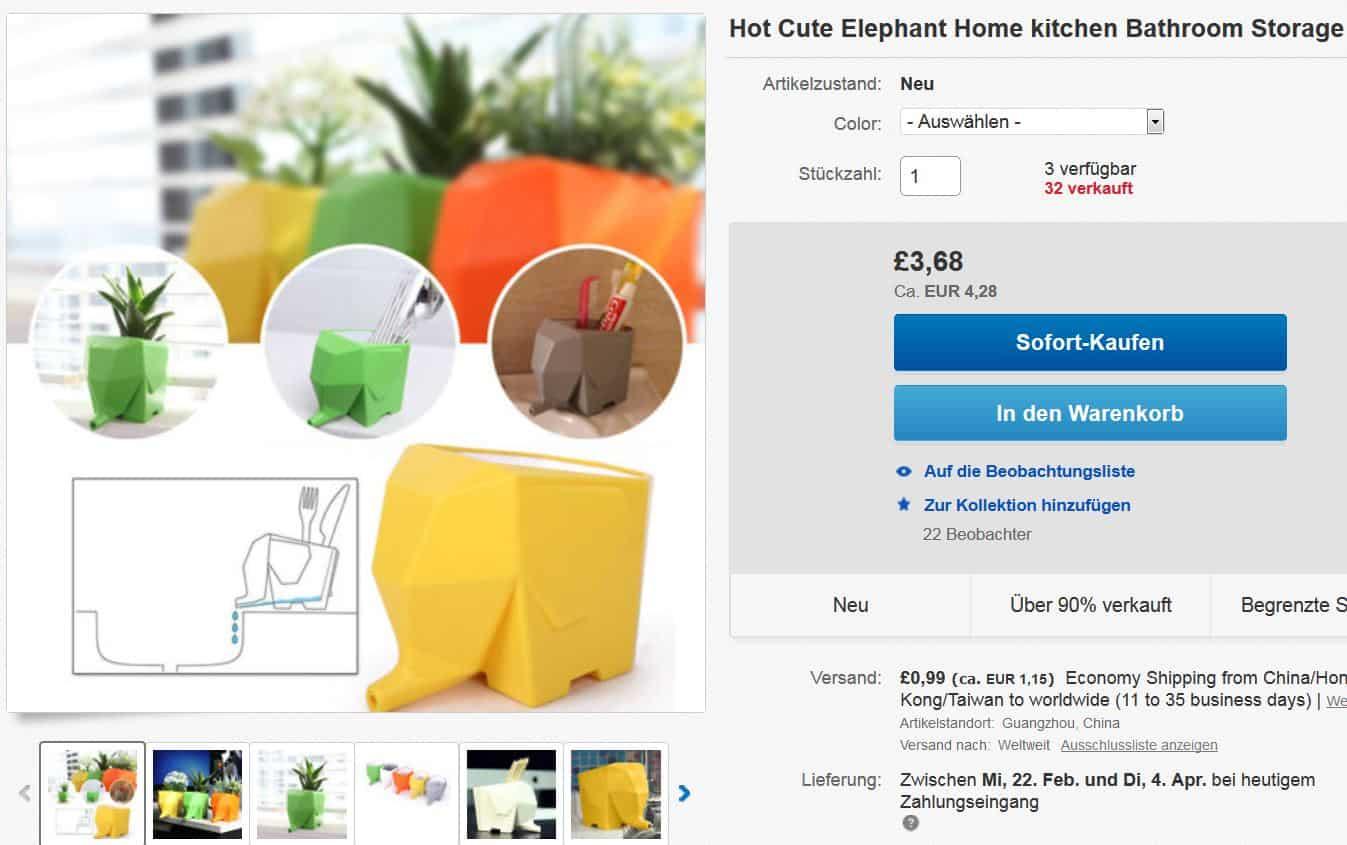 multifunktioneller elefant beh lter f r 5 43 euro inkl lieferung. Black Bedroom Furniture Sets. Home Design Ideas