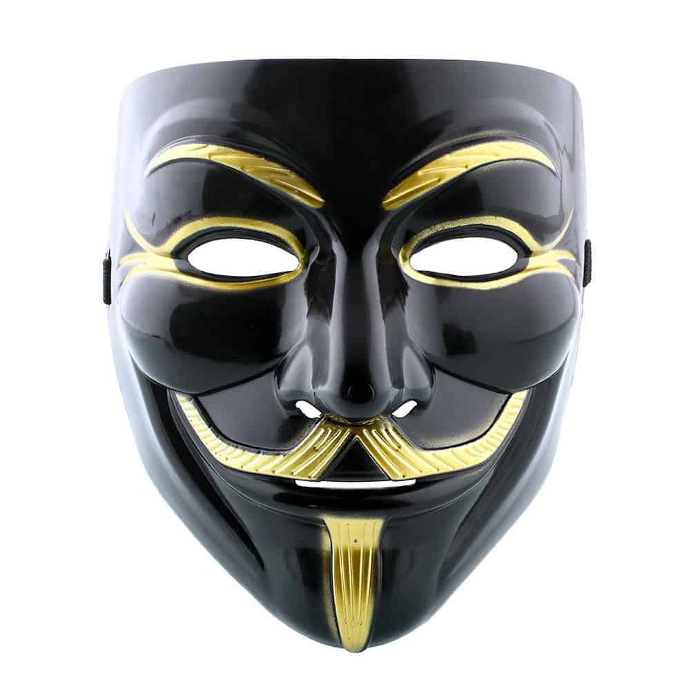 anonymous maske schwarz gold f r nur 1 13 euro gratis versand. Black Bedroom Furniture Sets. Home Design Ideas