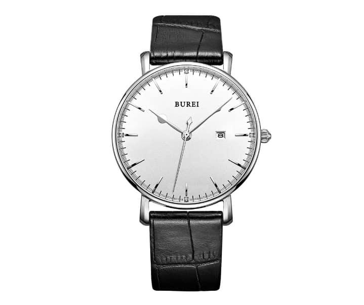 Bis 30m wasserdicht und mit Lederarmband: Die BUREI Herren Armbanduhr für 16,91 Euro