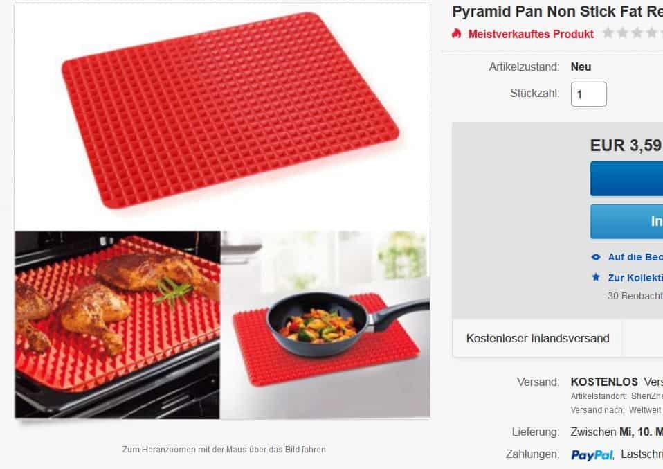 pyramid pan mal ein cooles k chen gadget 39 5 x 28 5 cm f r 3 59 euro inkl versand. Black Bedroom Furniture Sets. Home Design Ideas