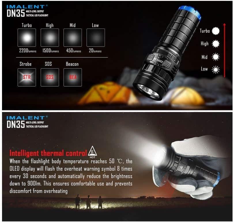 imalent dn35 led taschenlampe mit oled screen akku und. Black Bedroom Furniture Sets. Home Design Ideas