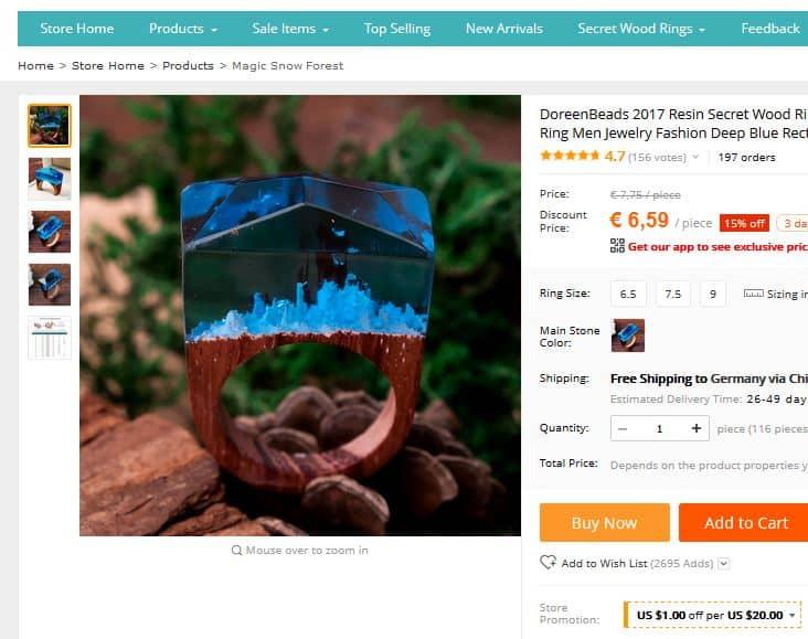 Der Mikrokosmos im Ring aus Holz! 29 kleine Welten am Finger zum Schnäppchen-Preis!