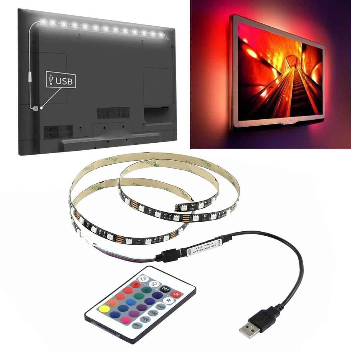 1 meter usb rgb led streifen vom typ 5050 mit regler und fernbedienung jetzt f r zusammen nur 3. Black Bedroom Furniture Sets. Home Design Ideas