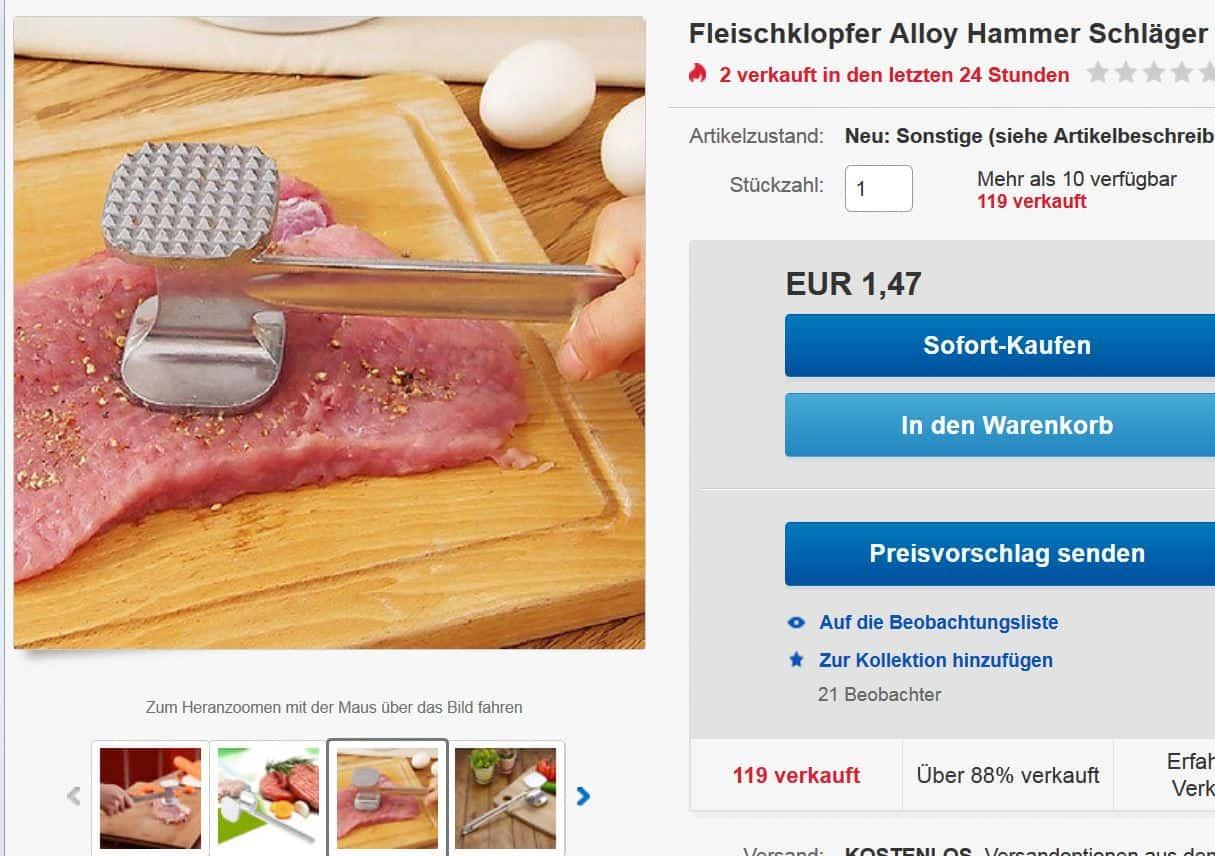 Schnitzelklopfer aus Metall für nur 1,47 Euro inkl. Lieferung ...