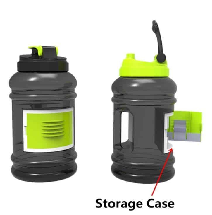 2,2 Liter Trinkflasche mit Fach für Spindschlüssel oder Chipkarte!
