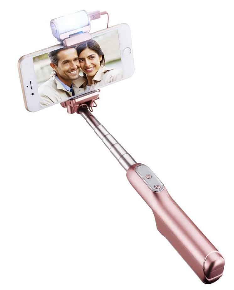 Selfie-Stick mit Fernbedienung und LED-Blitz