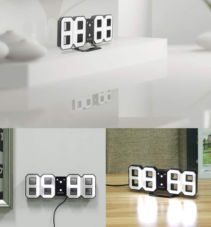 3d led wanduhr oder standuhr mit weckfunktion in extra gro und extra stylish. Black Bedroom Furniture Sets. Home Design Ideas