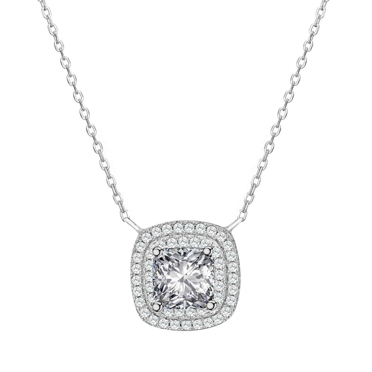 Damen Halskette ATMOKO aus 925 Sterling Silber mit runden oder eckigen Anhängern für nur 9,86 Euro