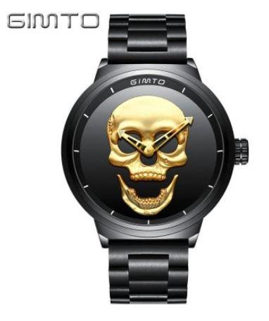 Totenschädel-Uhr von GIMTO in Gold oder Schwarz dank Gutschein für nur 16,41 Euro inkl. Lieferung aus China!