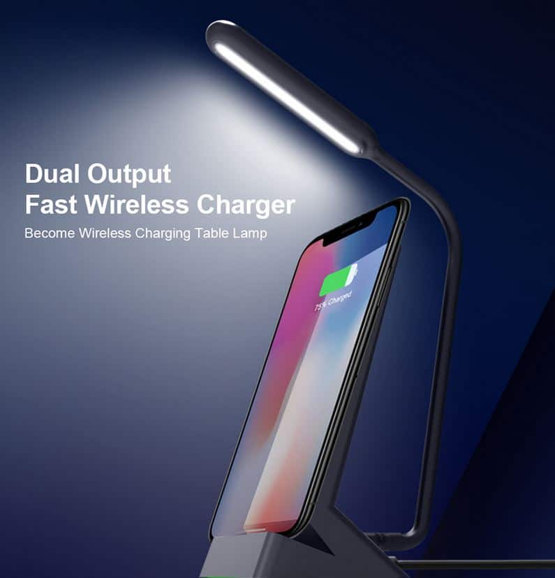 Funxim W9 10 Watt Nachttischlampe mit eingebauten Qi-Ladegerät Induktionslader für Smartphones für nur 16,37 Euro bei Zapals!