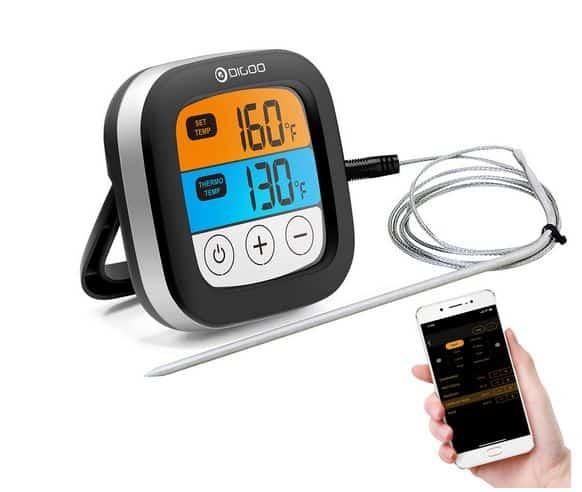Digoo DG-FT2103 Funk-Grill-Thermometer mit Touch Screen + Datenübertragung aufs Smartphone!