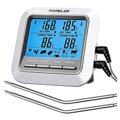 TOPELEK Grill-/Fleischthermometer mit 2 Sonden für 10,99 Euro bei Amazon