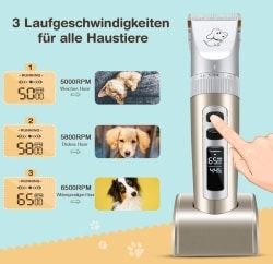 TOPELEK Tierhaarschneider mit 6 verschiedenen Aufsätzen für 16,99 Euro inkl. Prime-Versand