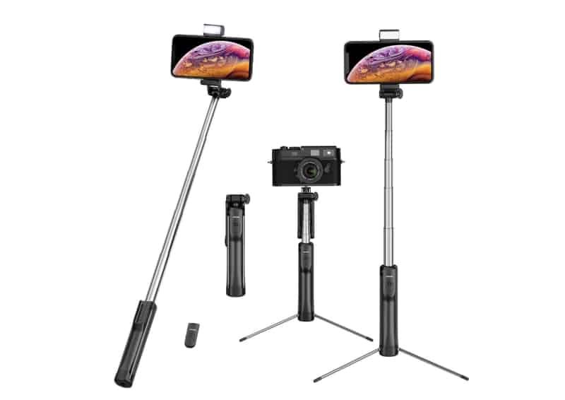 Mpow Selfie Stick mit Fernbedienung, Stativ-Funktion und LED-Licht für 12,55 Euro bei Amazon