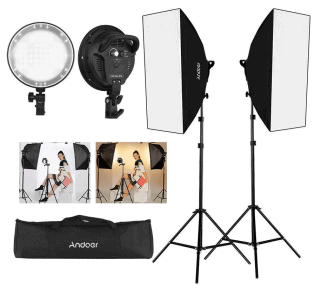 Andoer Fotostudio LED-Fotostudio Beleuchtung mit Softbox  für 69,99 Euro bei Amazon