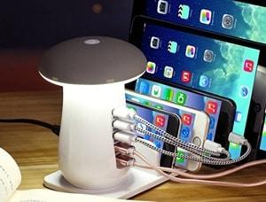 Der leuchtende 5-Port USB Pilz mit QC 3.0
