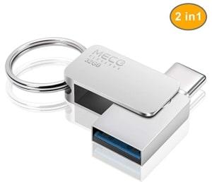 Meco Eleverde 32GB 2-in-1 USB-C und USB 3.0 Stick mit Schlüsselanhänger für 8,99 Euro
