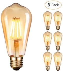 6er Pack Dobee Vintage Edison Leuchtmittel E27 mit 4 W für nur 14,99 Euro