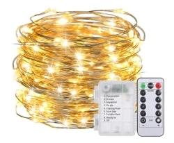 Batteriebetriebene Lixada LED Kupferdraht-Lichterkette mit Fernbedienung für 6,99 Euro