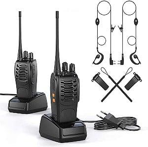 2er Set OWSOO Walkie Talkie (VOX Radio PMR 446 MHz, 1500mAh, 6km Reichweite, LED Taschenlampe, Headset) für 29,98€